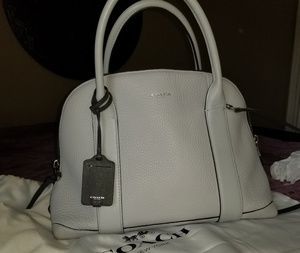 Light Grey Pebble Leather Coach Top Handle